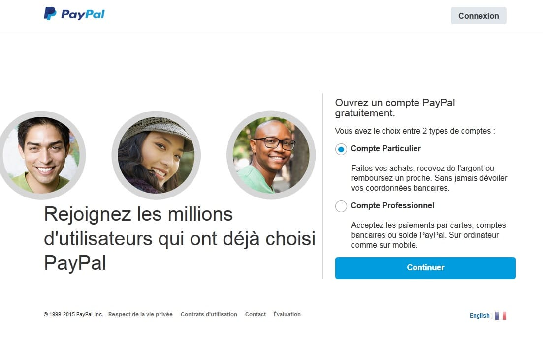Ouvrir compte paypal